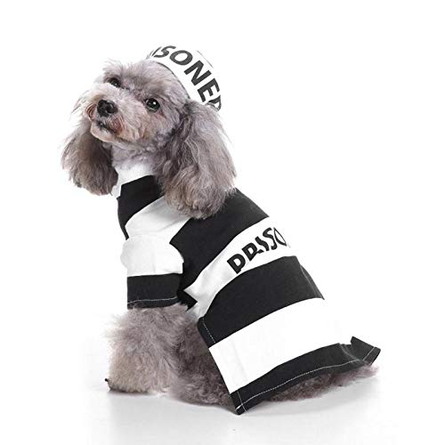 WeiMay Pet Dog Clothes Puppy T-Shirt Black and White Stripe Prisoner Style Halloween Prison Pooch Costumes L]()