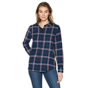 Amazon Essentials Women's Classic-Fit Long-Sleeve Lightweight Plaid Flannel Shirt