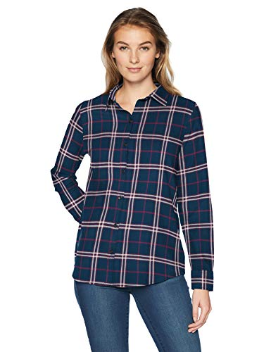 Womens Flannel Plaid (Amazon Essentials Women's Long-Sleeve Classic-Fit Lightweight Plaid Flannel Shirt Shirt, -navy/burgundy plaid, X-Large)