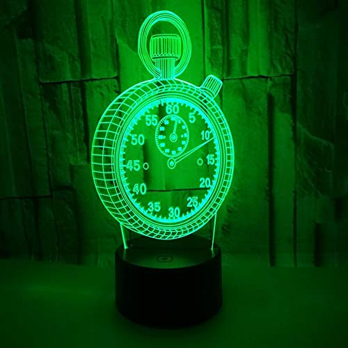 Toolso 3D LED Hologram Illusion Night Light Changing Bedroom Alarm Clock Shape Light Touch Switch Home Table Desk