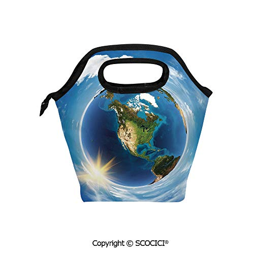 Portable thickening insulation tape Lunch bag America Landscape from Space Artwork Twirly Clouds Sun Orbit Ecology Geography for student cute girls mummy -