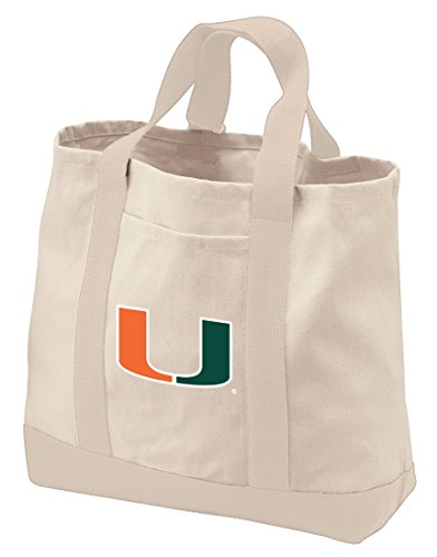 Broad Bay University of Miami Tote Bag NATURAL COTTON University of Miami Totes by Broad Bay