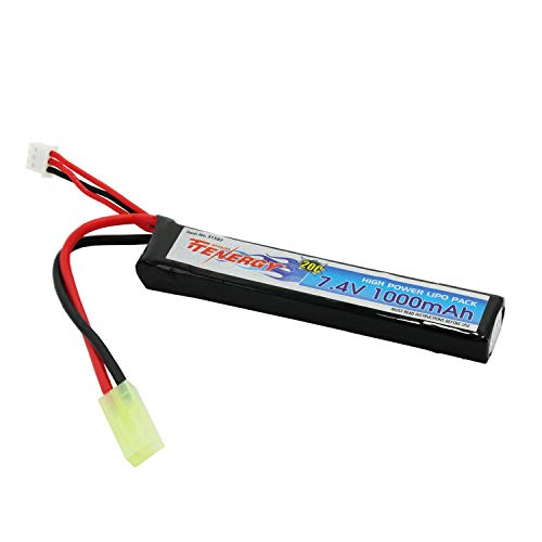 Tenergy 7.4V Airsoft Battery, 1000mAh High Capacity LiPo Stick Battery Pack, High Discharge Rate 20C Rechargeable Hobby Battery Pack with Mini Tamiya Connector for Airsoft Guns M4, AK47, G36, RPK, PKM