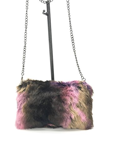 GoodCape EMMA Series faux fur ladies sling bag in black chain by Goodcape
