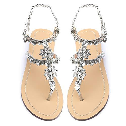 Odema Women's Crystal Diamond Rhinestone Bohemia Flip Flops Beach T-Strap Flat Sandals ()