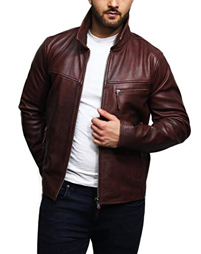 Brandslock Mens Genuine Leather Jacket Harrington Brando Cow Hide (S, Tan Cognac)