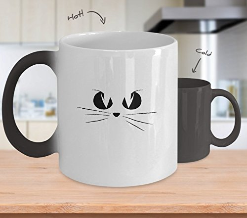 Color Changing Mug Cat Face Halloween Costume Women Men Children Heat Colour Change Mug -