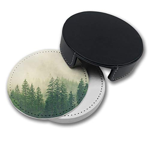 (NGFF Green Fog Forest Spruce Round Drinks Coasters with Holder Set of 6 PU Leather Cup Pads)