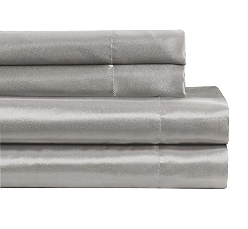 Fancy Linen Collection 4pc Queen Size Satin Sheet Set Super Soft Silky Solid Silver/Light Grey New