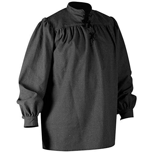 Mytholon Ansgar Shirt Medieval Shirt Cosplay LARP Renaissance Shirt Pirate (Small, Black)