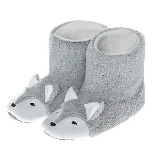Boot Animal (Plush Fox Animal Boot Slippers for Women Warm Soft Fleece Indoor Outdoor Grey 5.5-6.5 B(M) US)