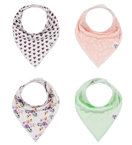 Baby Bandana Drool Bib 4 Piece Set, Best for Teething and Drooling, Absorbent and Soft,