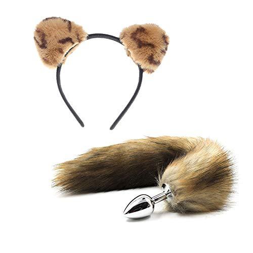 Lsinyan 2 Pack Cosplay Costume Set Plush Ears Headbands Headpiece Fox Tail Halloween Cosplay Costume for Women -