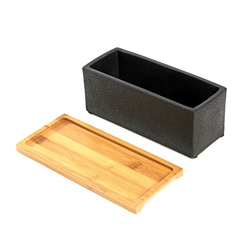 Nattol 8.5 inch Pot Rectangle Planter with Tray, Cement Pot Planter/Succulent Black Pot/Mini Cactus Holder with a Removable Bamboo Saucer Tray (Black)… by Nattol (Image #4)