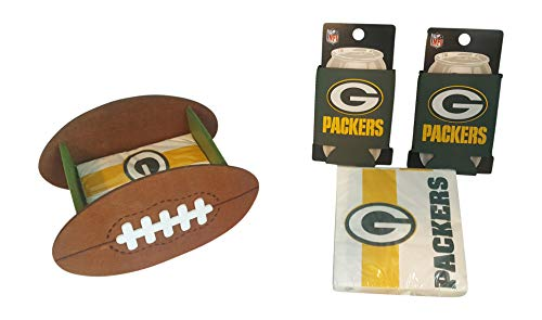 Green Bay Packers Fan Set Includes 2 Can Cooler Koozies Football Shaped Cocktail Napkin Holder & 50 Logo Napkins