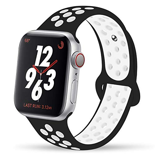 YC YANCH Greatou Compatible for Apple Watch Band 38mm,Soft Silicone Sport Band Replacement Wrist Strap Compatible for iWatch Apple Watch Series 3/2/1,Nike+,Sport,Edition,S/M, Black White