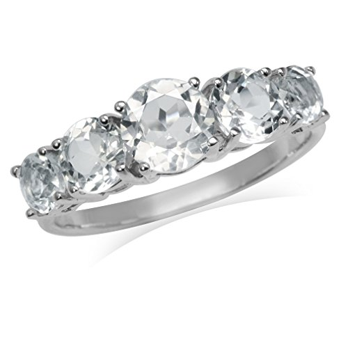 2.87ct. 5-Stone Genuine White Topaz Gold Plated 925 Sterling Silver Ring Size 10 ()