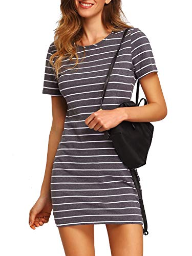 Floerns Women's Causal Short Sleeve Striped Tunic T-Shirt Dress Grey S