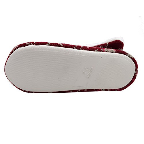 Giovani Donne Leggere Caldo Inverno Morbido Peluche Pantofole Casa Coperta Scarpe Lounge Scarpe Rilassate Cavallo Rosso