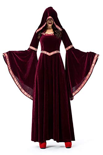 Women High Priest Costume Medieval Hooded Dress Hooded