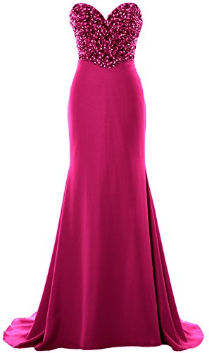 Formal Fuchsia Prom Dress Strapless Crystals Women Long Party MACloth Gown Evening ZtFwvYqv