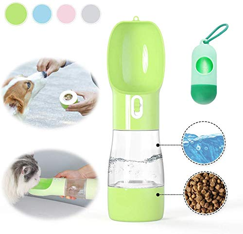 DIYLOTA Dog Water Bottle for Walking and Food Container 2-in-1, Detachable Pet Water Drinking Bottle with Combo Cup for…