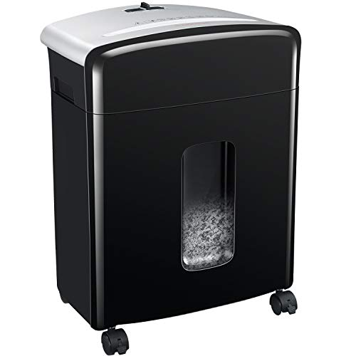 Bonsaii 10-Sheet High-Security Micro-Cut Paper Shredder, Credit Card/Staples/Clips Shredders for Office and Home Use, 3.5-Gallon Pullout Wastebasket with Large Transparent Window (C220-B)