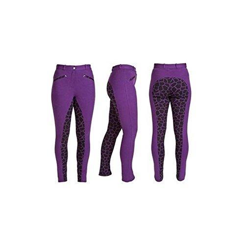 HyPerformance Alyssa Ladies Jodhpurs - Available in Black/Pink Polka Dot or Purple/Black Giraffe - Ideal for everyday use - Very comfortable William Hunter Equestrian