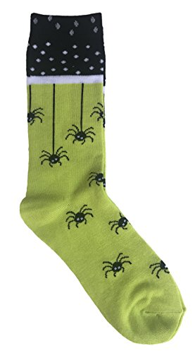 K.Bell Lime Green and Black with Crawling Spiders Novelty Crew Sock Halloween Themed