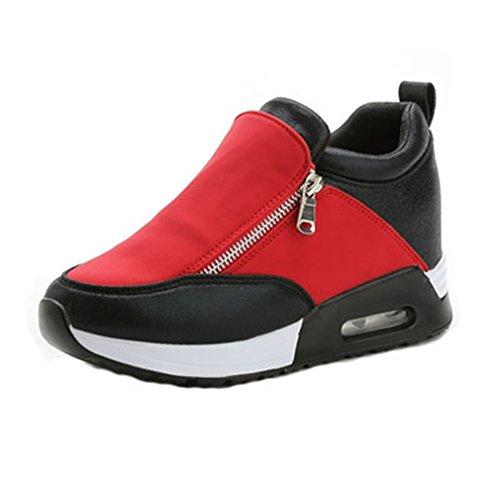 Giy Damesmode Hoge Top Sneakers Zip Wedges Platform Ronde Neus Verborgen Hak Loafers Sneaker Schoenen Rood