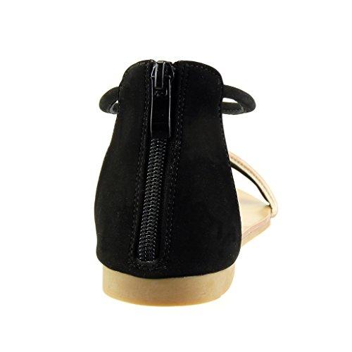 Angkorly - Zapatillas de Moda Sandalias correa mujer tanga Talón Tacón ancho 1 CM - Negro