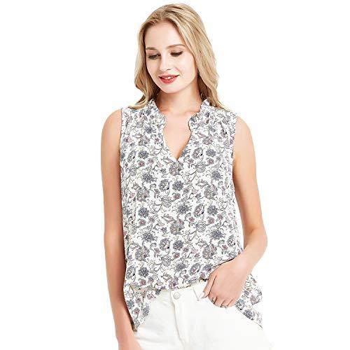 Basic Model Summer Sleeveless Tank Tops for Women Chiffon Ruffled V Neck Blouse ()