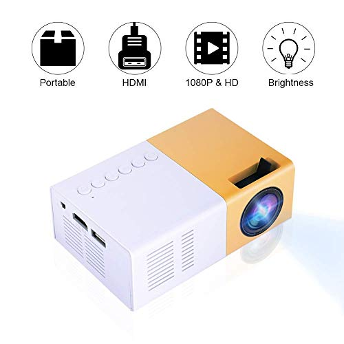 ASHATA Video Mini HD Projector, LED Home Theater 4K TV Movie Projector Support Laptop Phone 1080P/HDMI/VGA/USB/TV Box/Laptop/DVD for Indoor Outdoor Entertainment(US Plug)