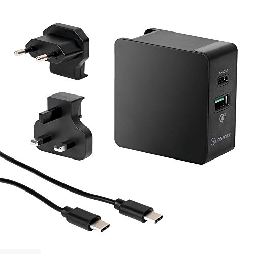 USB C Charger,Huesapan 36W Dual USB Type C wall charger,Portable Universal Charger Kits with EU/UK Plug,One Power Delivery Port for iPhone X,iPhone 8,Macbook and More,One Port QC3.0.