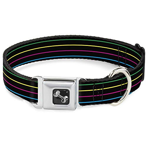 - Dog Collar Seatbelt Buckle Pinstripes Black Multi Color 18 to 32 Inches 1.5 Inch Wide