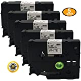 NEOUZA 5PK Compatible For Brother P-Touch Laminated Tze Tz Label Tape Cartridge 9mm x 8m (TZe-221 Black on White)