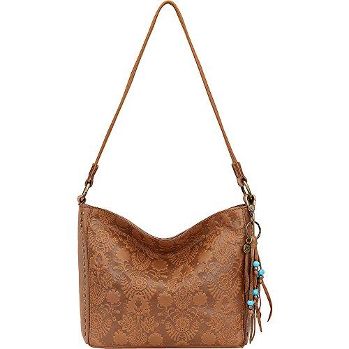 The Sak Indio Leather Demi Shoulder Bag (Tobacco Floral Emboss) by The Sak