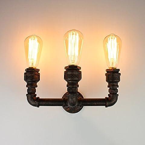 NATSEN Industrial Vintage Metal Water Pipe Wall 3 Lights Sconce Lamp Wall Lighting Fixture