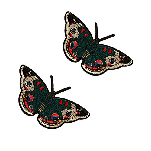 SOUTHYU 1 Pair Butterfly Iron On/Sew On Patches Decorative Motif Appliques Embroidered Repairing Badge for DIY Clothing Jeans Dress Jacket Hat T-Shirt, 5.5 × 3.35 inch