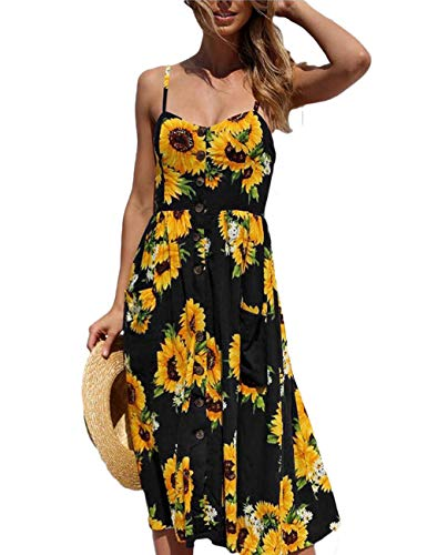 Women's Spaghetti Strap Dress - Black Bohemian Dresses Floral Printed Midi Dress Black S