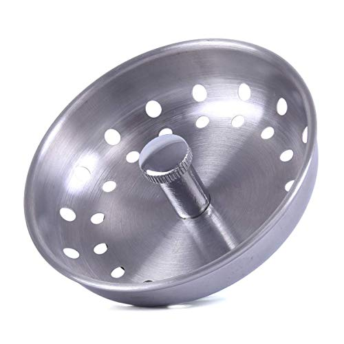KONE Kitchen Sink Strainer Replacement for 3-1/2 Inch Standard Drains Brushed Stainless Steel Basket Metal Center Knob with Rubber Stopper