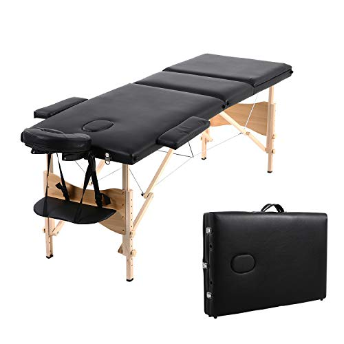 Soges Massage Table 73 inches Massage Bed 3-section Portable Spa Bed Folding Facial Bed Adjustable Lash Bed Tattoo Table with Headrest Armrest, Black, KH3104S-BK