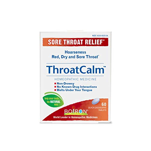 Throat Calm Sore Throat Relief Homeopathic Medicine Adults and Kids (Pack of 2) with Arnica Montana, Belladonna, Bromium, Bryonia and Pulsatilla, 60 Tablets Each (Best Home Remedy For Laryngitis)