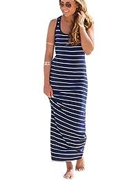 TM Women Sleeveless Striped Loose Long Beach Sundress Fashion Dress