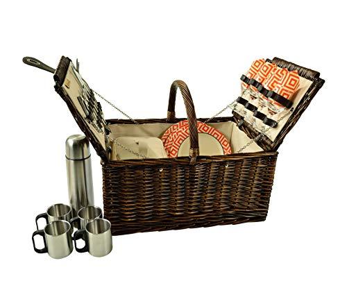 Beach Decor Premium Buckingham Willow Picnic Basket, Brown Wicker/Diamond Orange
