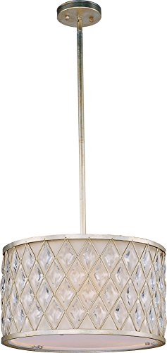 Maxim 21455OFGS Diamond 3-Light Pendant, Golden Silver Finish, Glass, MB Incandescent Incandescent Bulb , 100W Max., Damp Safety Rating, Standard Dimmable, Glass Shade Material, 3450 Rated Lumens