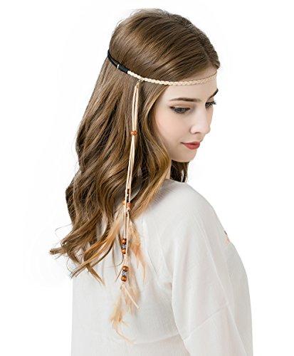 AWAYTR Feather Headband Indian Headpiece - Bohemian Tassels Girls hairband Festival Headwear For Women ()
