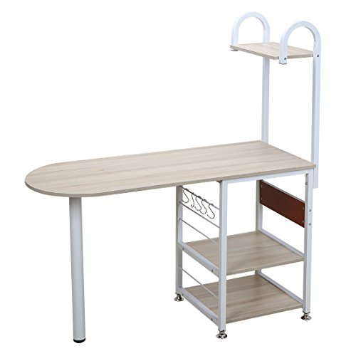 4 Tier Multipurpose Storage Shelf Bakers Rack, Metal Frame and Wooden Worktop for Kitchen by BestValue GO (Image #2)
