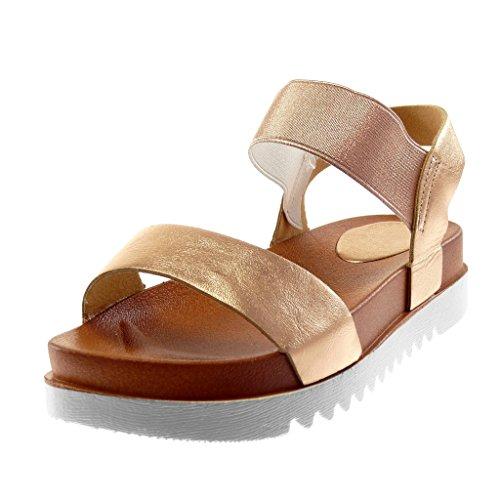 Sneaker Damenmode Elastisch 4 Tanga Wedge Sohle Knöchelriemen Sandalen cm Champagner Schuhe Angkorly dtUqgt