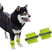 1 Pair Knee Brace Support Pads Dog Brace Paw Compression Wrap With Fluorescent Wristbands Pets Safety Care For Dog Training Brace Heals and Prevents Injuries Sprains Helps, Yellow - Size S M L (L)